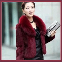 Luxurious Burgundy Wine Mink Hair Faux Fur Jacket Wide Collar Short Wais... - $109.95