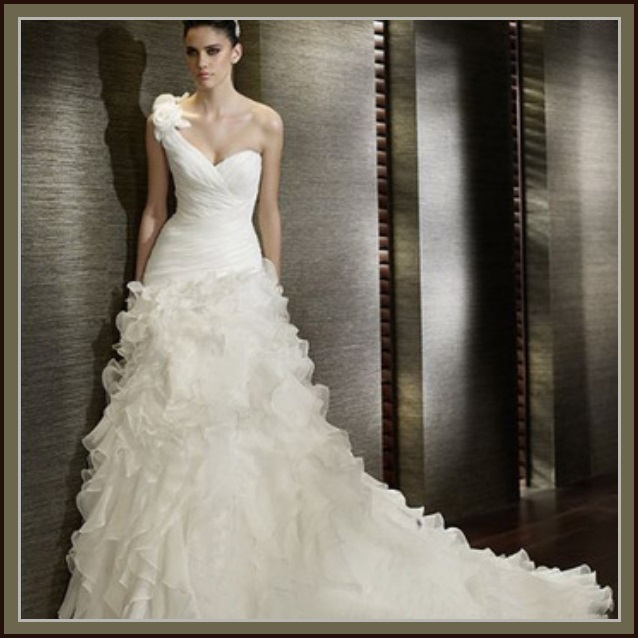 One Shoulder White Organza Petal Lace Cathedral Court Train Wedding Gown