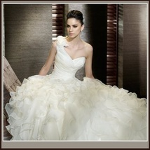 One Shoulder White Organza Petal Lace Cathedral Court Train Wedding Gown image 2