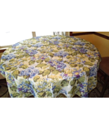 Tablecloth with Bright Hydrangia Flowers Purple, Blue, Yellow, Green 58x... - $19.99