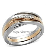 CLEARANCE----Rose Gold Tone Stainless Steel Top Grade Crystal 3 Ring Set... - $14.00