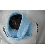 Sabby's Light Blue Knitting wrap around infinity scarf with a Blue Croch... - $17.00