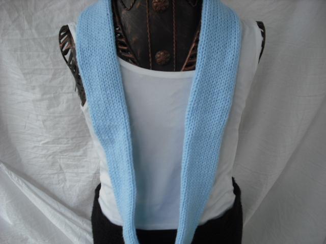 Sabby's Light Blue Knitting wrap around infinity scarf with a Blue Crochet Trim.