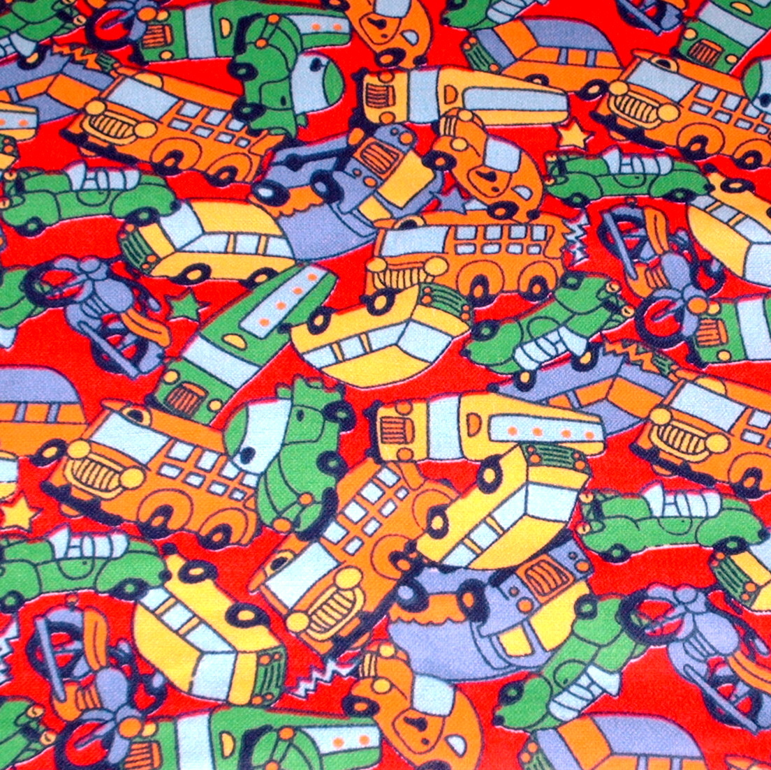 Brightly Colored Cars Buses Trucks Cotton Flannel Puppy SHORT Snood CLEARANCE