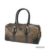 Bronze Metallic Black Large Stud 2 Handle Satchel Doctor Tote Handbag Purse - $79.99