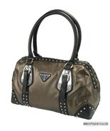 Bronze Metallic Black Medium Stud 2 Handle Satchel Doctor Tote  Handbag ... - $49.99