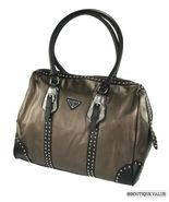 Bronze Metallic Black  X-Large 2 Handles Satchel Stud Tote Handbag Purse - $79.99