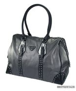 Gray Metallic Black X-Large 2 Handles Satchel StudTote  Handbag Purse - $79.99