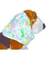 Dog Snood Multi Pastel Butterflies on Green Sparkle Cotton Size Puppy SHORT - $9.50