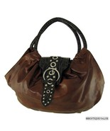 Dark Tan Brown Moc Croc 2 Handles Fan Tote Handbag Purse - $24.99