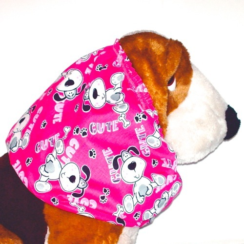 Primary image for Dog Snood-Cute Pups Bright Pink Cotton-Puppy SHORT-Cavalier King Charles Spaniel