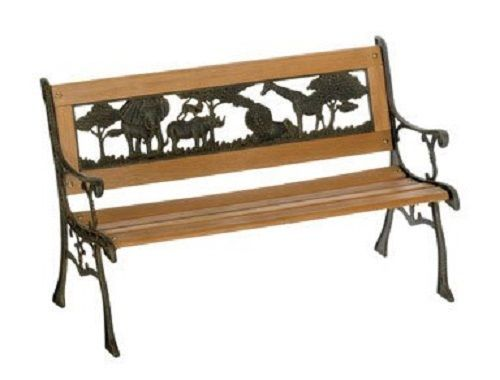 Outdoor Garden Kid Park Bench Lawn Patio Furniture Cast Iron Animal Jungle Slats