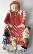Mrs Claus Old Lady w Parasol Elf Snowman Christmas Serving Tray Platter - $29.95