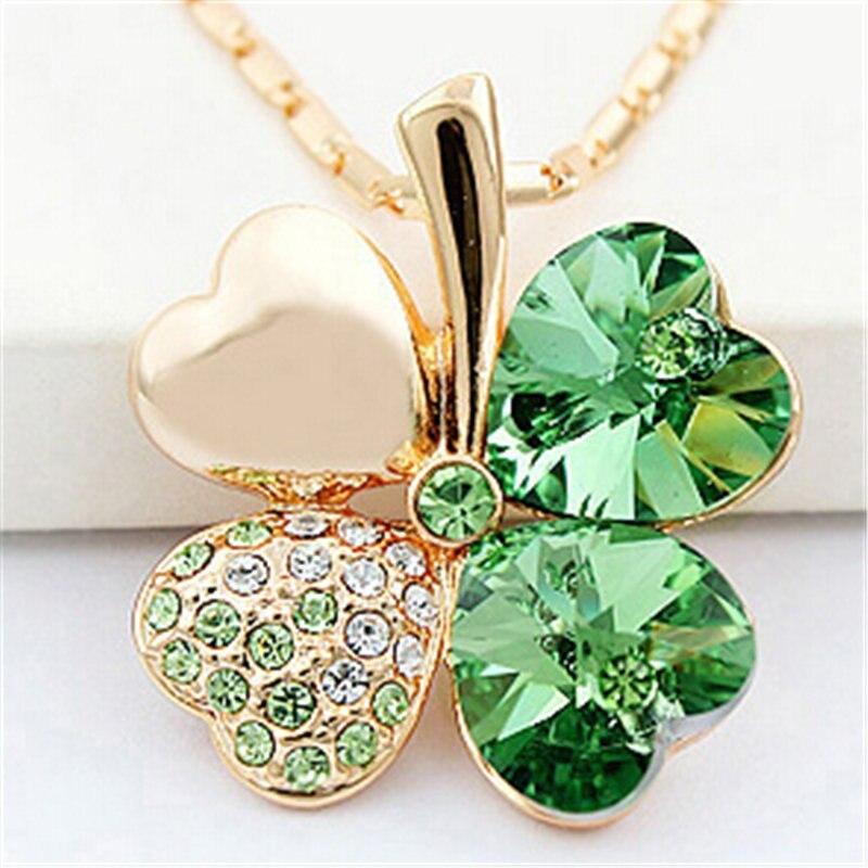 SHDEDE Four Leaf Clover Necklaces Pendant Heart Crystal from Swarovski Elements