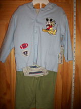 Disney Mickey Baby Clothes 6-9M Mouse Long Pant Set Pluto Little Champ O... - $18.99