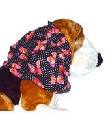 Dog Snood Pink Purple Butterflies on Dotted Black Cotton Size Puppy REGULAR - $10.50