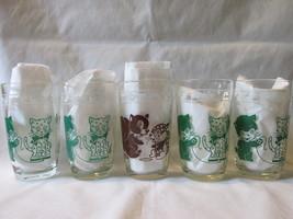"""Five Swanky Swig """"Kiddie Cup"""" Juice Glasses, Four Green, One Brown - 1956 - $9.99"""