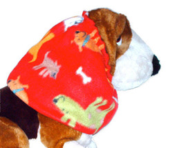 Multicolor Happy Puppies on Red Fleece Dog Snood by Howlin Hounds Size S... - $11.50
