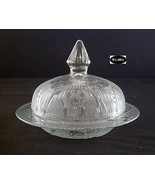 Iris and Herringbone Crystal Butter Dish with Lid Jeannette - $42.95
