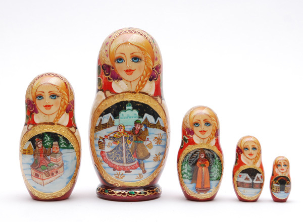 Exclusive Russian Sergiev Posad Fairy-tale nesting doll 5 pc Free Shipping plus  image 1