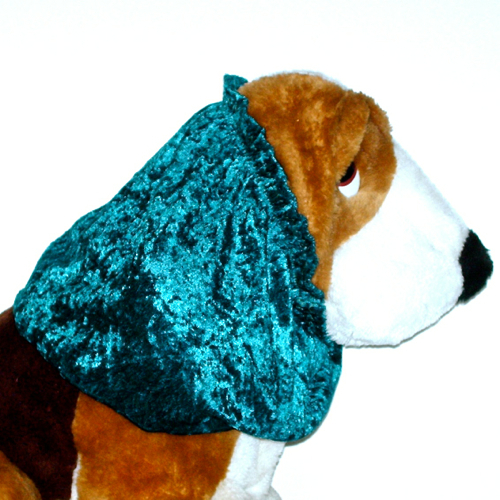 Dog Snood Spruce Blue Green Crushed Panne Stretch Velvet Basset Hound Size Large