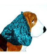 Dog Snood Spruce Blue Green Crushed Panne Stretch Velvet Basset Hound Si... - $12.50