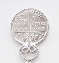 Collector Souvenir Spoon Canada Ontario Sudbury 5 Cent Nickel Coin Figural - $6.99