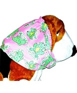 Dog Snood-Big Happy Froggies Pink Green Lightweight Cotton-Size Large - $12.50