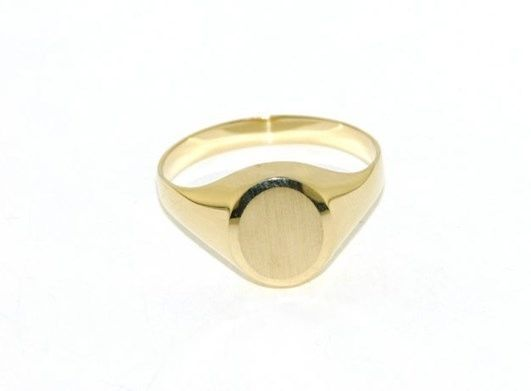 18K YELLOW GOLD BAND MAN RING OVAL ENGRAVABLE SATIN AND SMOOTH MADE IN ITALY