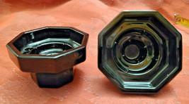 2 Vtg Black Octagonal Glass Candle Holders Made in France