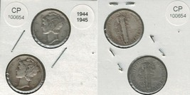 1944 and 1945 Mercury Dimes 2 coins Actual Photo of coins CP100654 - $10.95