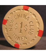 """1957 - $1.00 Casino Chip From:  """"The New China Club"""" - (sku#2822) - $9.49"""