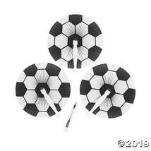 12 Soccer Ball PATTERN Paper Folding Fans SUMMER BIRTHDAY PARTY FAVOR DE... - $7.49