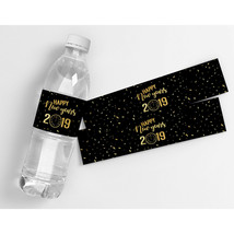 New Years Black and Gold Clock 2019 Waterproof Party Water Bottle Labels  - $20.79