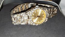 Women's Geneva Shiny Gold Tone Nugget Style Bracelet Fashion  Wristwatch - $16.83