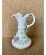 "Antique Irish 9"" Belleek Aberdeen Vase Pitcher Ewer Applied Flowers Gree... - $70.13"