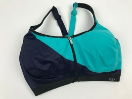 Vsx Victoria's Secret The Knockout Sports Bra Teal Navy Blue Zipper Front 34DDD - $22.03