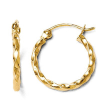 Leslies 14k Yellow Gold Textured Polished Twisted 1.8mm x 16mm Hoop Earr... - $111.07 CAD