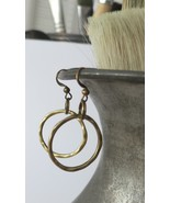 Simple hammered circle, aged bronze finish dangle earrings - $12.00