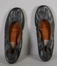 Lanvin Womens Leather Crinkled Ballet Flat Shoes Metallic Gray 36 Italy - $148.50