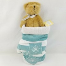 Boyds Teddy Bear In Mitten Glove Christmas Stocking Snowflakes Fallin Wh... - $11.85