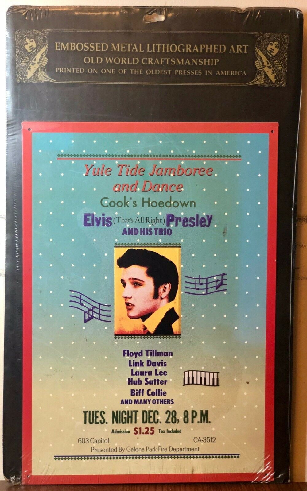 Primary image for Elvis Presley Yule Tide Jamboree Embossed Metal Tin Litho Poster Official King