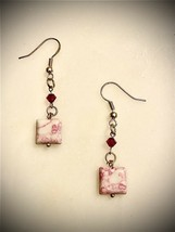 artisan made earrings pink howlite turquoise Earrings On Sterling Silver Holks - $6.92