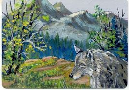 "Original Aceo Painting ""Timber Wolf"" Miniature Art - $5.99"
