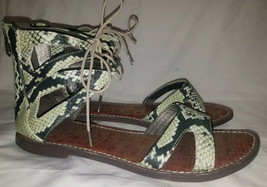 Sam Edelman Gwenna Green Black Snake Print Python Gladiator Sandal Size 9 M - $17.82