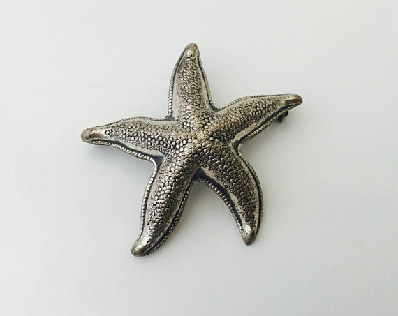 Primary image for STARFISH Vintage Brooch Pin in Sterling Silver - BEAU STERLING - 1.5 inches wide