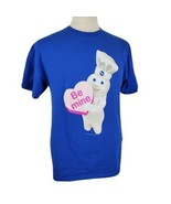 Pillsbury Doughboy Be Mine Valentine Heart T-Shirt Large Crew S/S Blue C... - $18.99