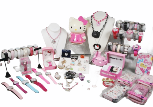 Large Sanrio Hello Kitty Assorted Jewelry Accessories Lot Watch Necklace Bank