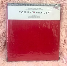 TOMMY HILFIGER SOLID RED 100% COTTON Percale FULL SIZE BED SHEET SET 4PC - $68.31