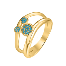 0.30ct Round London Blue Topaz 14k Yellow Gold Over.925 Silver Mickey Mouse Ring - $69.35